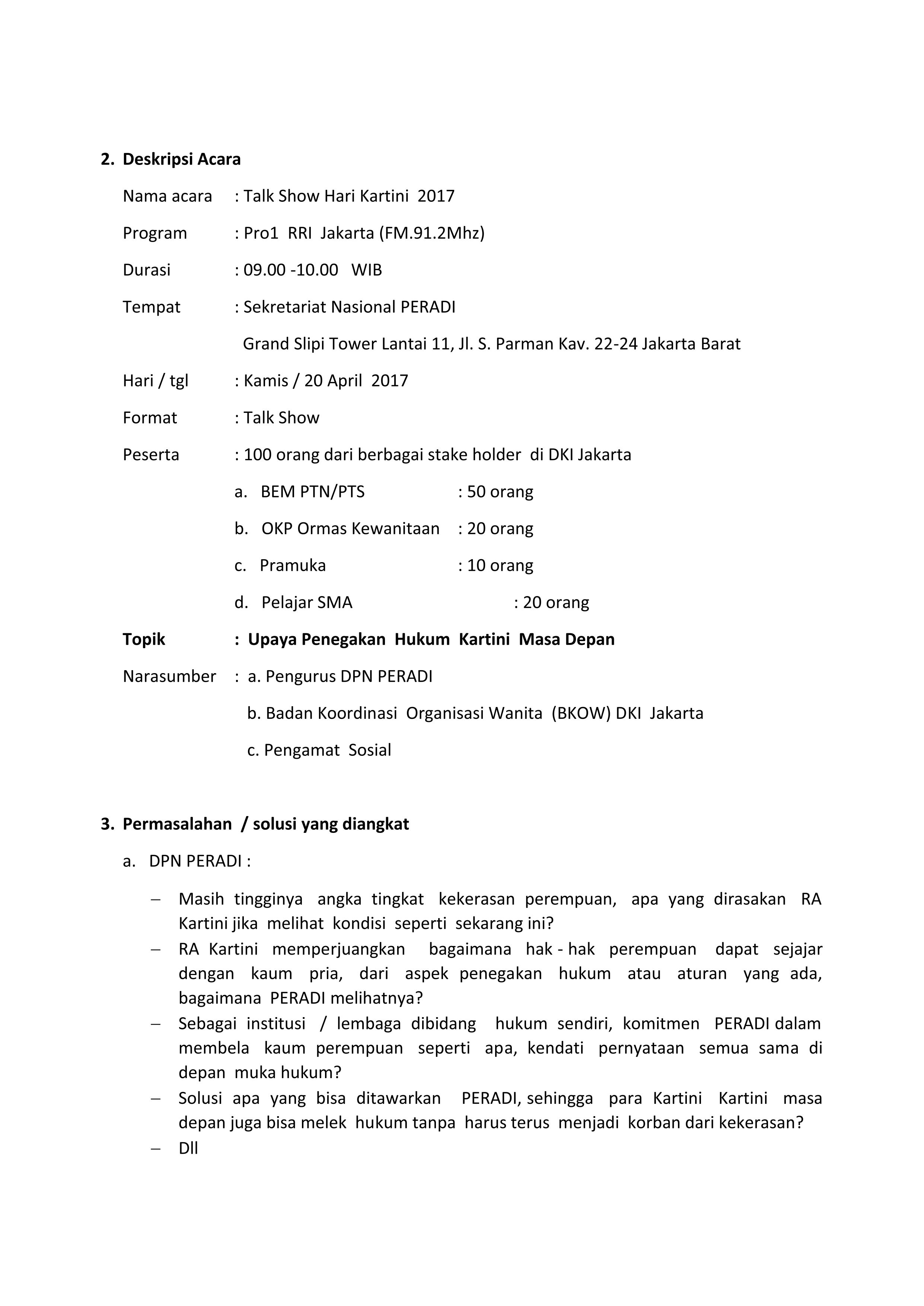 Term Of Reference Talk Show Hari Kartini 2017 Rri Jakarta